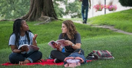 Students study together on the Cathedral of Learning lawn